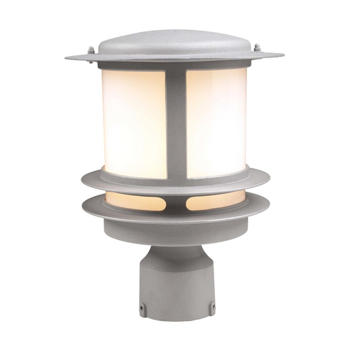 PLC Lighting Modern Post Light with White Glass in Silver Finish 1896 SL