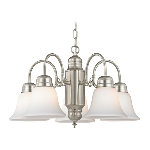 Design Classics Lighting Mini-Chandelier with White Glass in Satin Nickel Finish 709-09 GL1032-WH