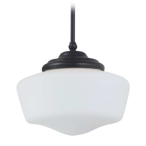 Sea Gull Lighting Schoolhouse Pendant Light with White Glass in Heirloom Bronze Finish 65438-782