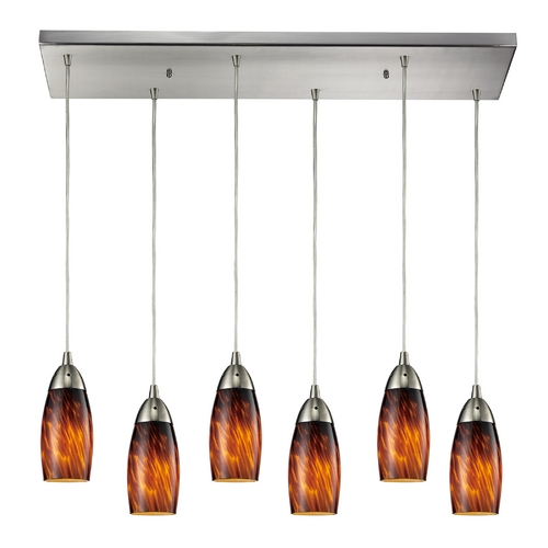 Elk Lighting Modern Multi-Light Pendant Light with Brown Glass and 6-Lights 110-6RC-ES