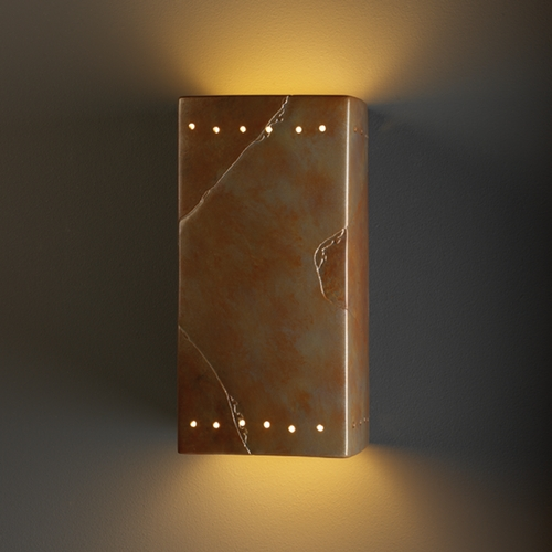 Justice Design Group Sconce Wall Light in Tierra Red Slate Finish CER-0965-SLTR