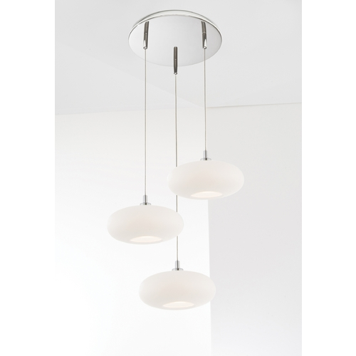 Holtkoetter Lighting Holtkoetter Modern Low Voltage Multi-Light Pendant Light with White Glass and 3-Lights C8310 S006 G5701 CH