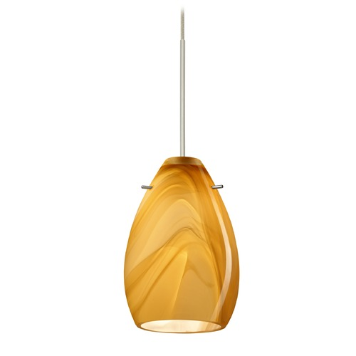 Besa Lighting Besa Lighting Pera Satin Nickel LED Mini-Pendant Light with Oblong Shade 1XT-1713HN-LED-SN