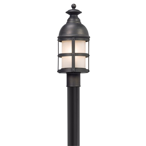 Troy Lighting Seeded Glass with Frosted Inside Post Light Bronze Troy Lighting P5155