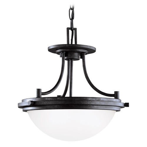 Sea Gull Lighting Sea Gull Lighting Winnetka Blacksmith LED Pendant Light with Bowl / Dome Shade 77660EN3-839
