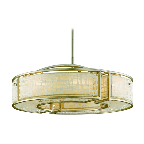 Corbett Lighting Modern Drum Pendant Light with White Paper Shades in Silver Leaf Finish 131-410