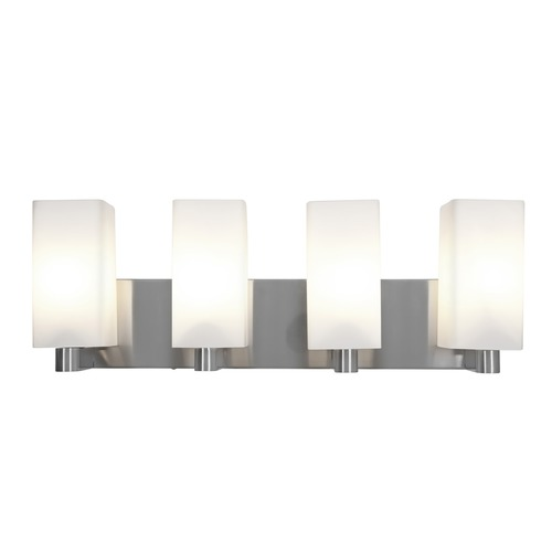 Access Lighting Modern Bathroom Light with White Glass in Brushed Steel Finish 50178-BS/OPL