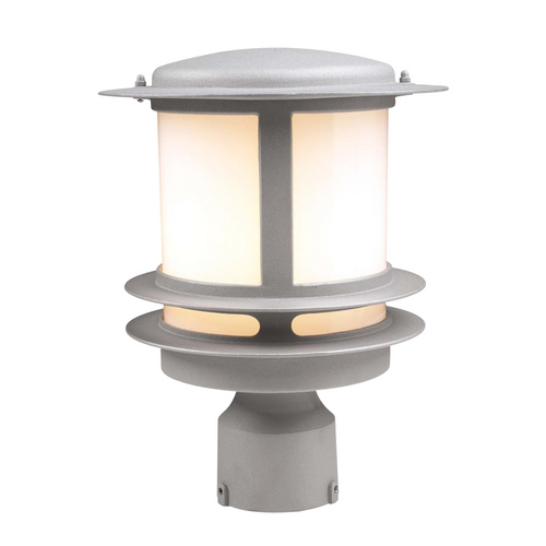 PLC Lighting Modern Post Light with White Glass in Black Finish 1896 BK