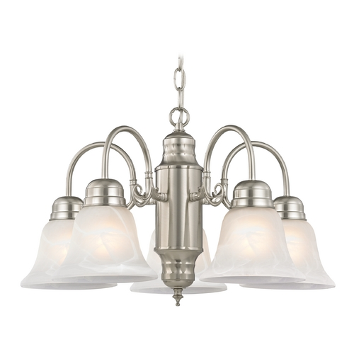 Design Classics Lighting Mini-Chandelier with Alabaster Glass in Satin Nickel Finish 709-09 GL1032-ALB