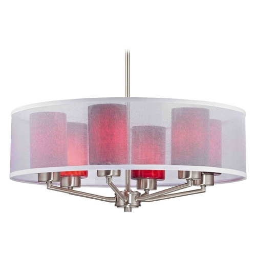 Design Classics Lighting Palatine Fuse Art Glass Satin Nickel Pendant Light with Cylinder Glass 1725-09 GL1018C