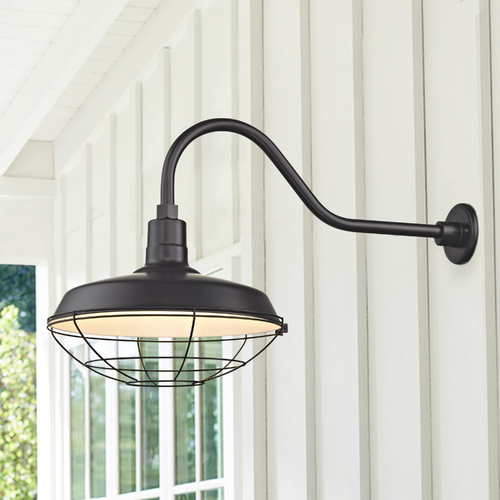 Recesso Lighting by Dolan Designs Black Gooseneck Barn Light with 16-Inch Caged Shade BL-ARMQ-BLK/BL-SH16-BLK/BL-CG16-BLK