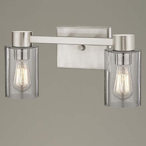 Design Classics Lighting 2-Light Seeded Glass Bathroom Light Satin Nickel 2102-09 GL1041C