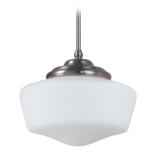 Sea Gull Lighting Schoolhouse Pendant Light with White Glass in Brushed Nickel Finish 65438-962