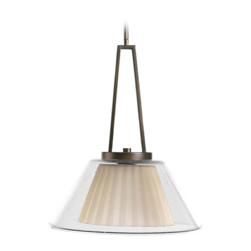 Progress Lighting Progress Oil Rubbed Bronze Drum Pendant Light with Clear Glass P5179-108