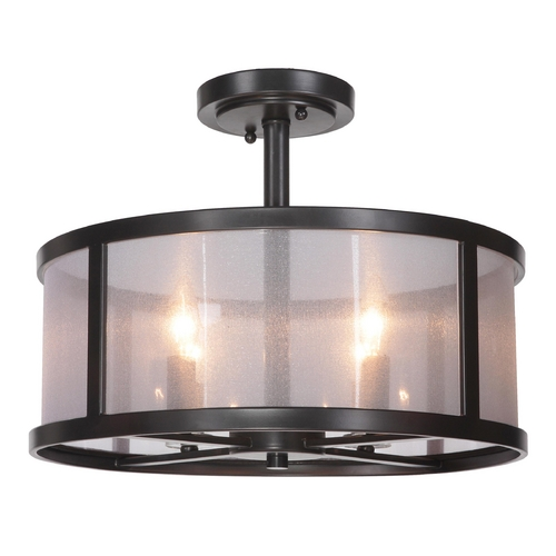 Craftmade Lighting Craftmade Danbury Matte Black Semi-Flushmount Light 36754-MBK