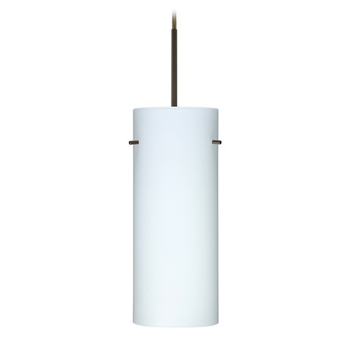 Besa Lighting Besa Lighting Stilo Bronze LED Mini-Pendant Light with Cylindrical Shade 1JT-412307-LED-BR
