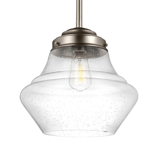 Feiss Lighting Schoolhouse Pendant Light Seeded Glass Satin Nickel 12-Inch Wide by Feiss Lighting P1407SN