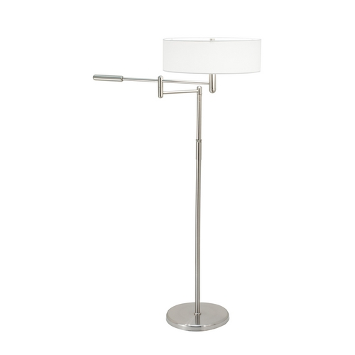 Sonneman Lighting Modern Swing Arm Lamp with White Shade in Satin Nickel Finish 7001.13