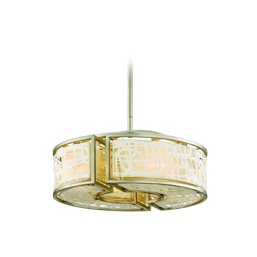 Corbett Lighting Modern Drum Pendant Light with White Paper Shades in Silver Leaf Finish 131-44