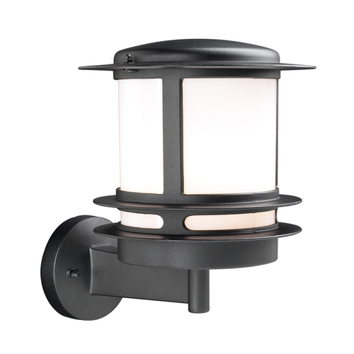 PLC Lighting Modern Outdoor Wall Light with White Glass in Silver Finish 1894 SL