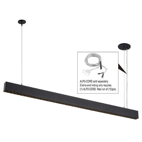 Recesso Lighting by Dolan Designs Recesso 46-Inch Black LED Linear Office Light 3500K 5400LM ALP2-835-50-2-B