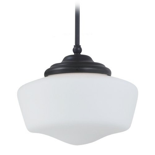 Sea Gull Lighting Schoolhouse Pendant Light with White Glass in Heirloom Bronze Finish 65438BLE-782