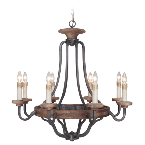 Jeremiah Lighting Jeremiah Lighting Ashwood Textured Black / Whiskey Barrel Chandelier 36528-TBWB
