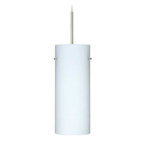 Besa Lighting Besa Lighting Stilo Satin Nickel LED Mini-Pendant Light with Cylindrical Shade 1JT-412307-LED-SN