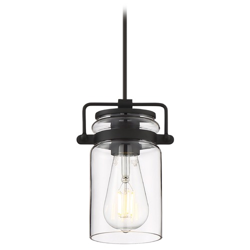 Nuvo Lighting Satco Lighting Antebellum Matte Black Mini-Pendant Light with Cylindrical Shade 60/6732