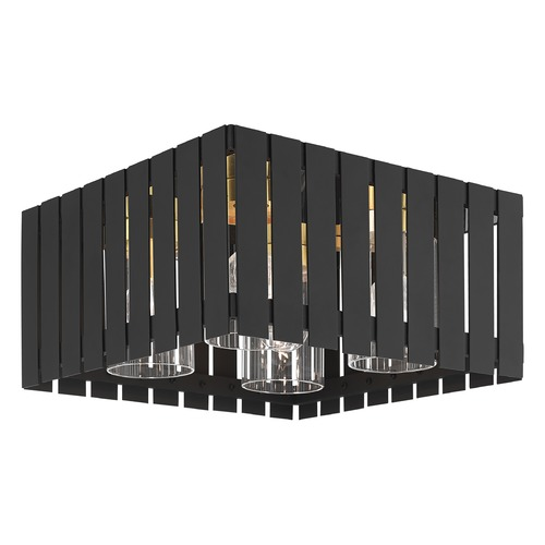Livex Lighting Livex Lighting Greenwich Black with Satin Brass Accents Close To Ceiling Light 20754-04