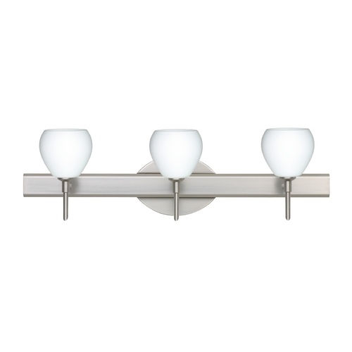 Besa Lighting Modern Bathroom Light with White Glass in Satin Nickel Finish 3SW-560507-SN