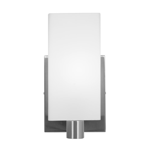 Access Lighting Modern Sconce Wall Light with White Glass in Brushed Steel Finish 50175-BS/OPL