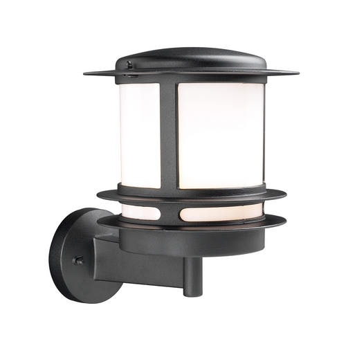 PLC Lighting Modern Outdoor Wall Light with White Glass in Black Finish 1894 BK
