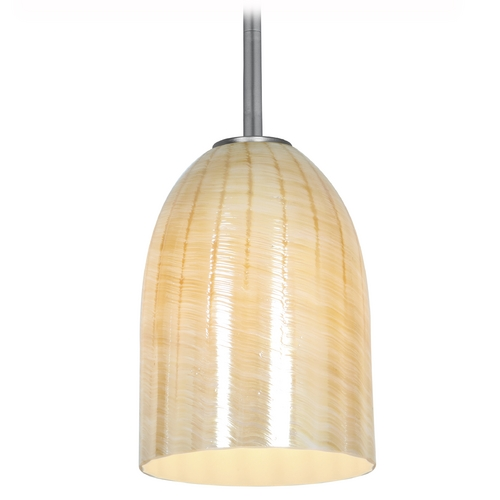 Access Lighting Access Lighting Julia Inari Silk Brushed Steel Mini-Pendant Light 28018-2R-BS/WAMB