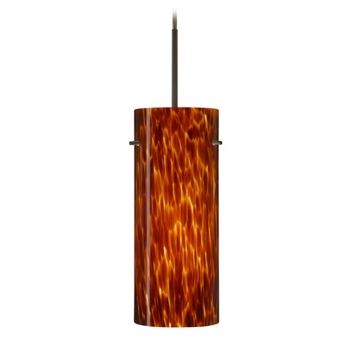 Besa Lighting Besa Lighting Stilo Bronze LED Mini-Pendant Light with Cylindrical Shade 1JT-412318-LED-BR