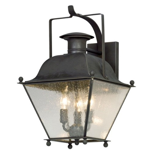 Troy Lighting Seeded Glass LED Outdoor Wall Light Iron Troy Lighting BL5072CI