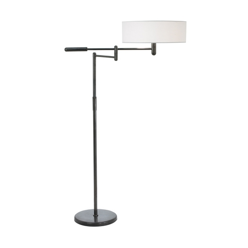 Sonneman Lighting Modern Swing Arm Lamp with White Shade in Black Brass Finish 7001.51