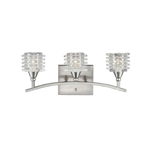 Elk Lighting Modern Bathroom Light with White Glass in Satin Nickel Finish 17131/3
