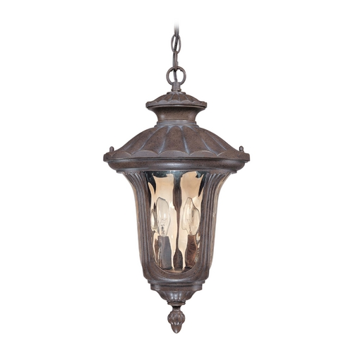 Nuvo Lighting Outdoor Hanging Light with Amber Glass in Fruitwood Finish 60/2008