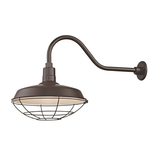 Recesso Lighting by Dolan Designs Bronze Gooseneck Barn Light with 16-Inch Caged Shade BL-ARMQ-BZ/BL-SH16-BZ/BL-CG16-BZ