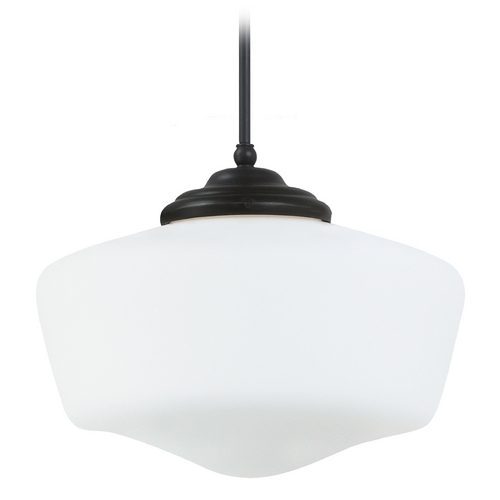 Sea Gull Lighting Schoolhouse Pendant Light with White Glass in Heirloom Bronze Finish 65439-782