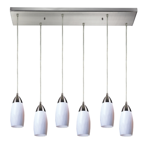 Elk Lighting Modern Multi-Light Pendant Light with White Glass and 6-Lights 110-6RC-WH