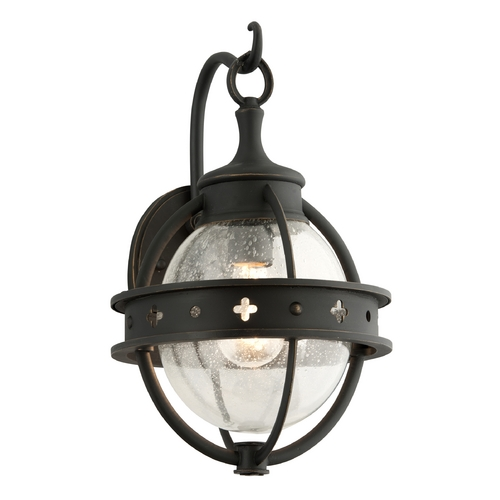Troy Lighting Outdoor Wall Light with Clear Glass in Forged Black Finish B3681