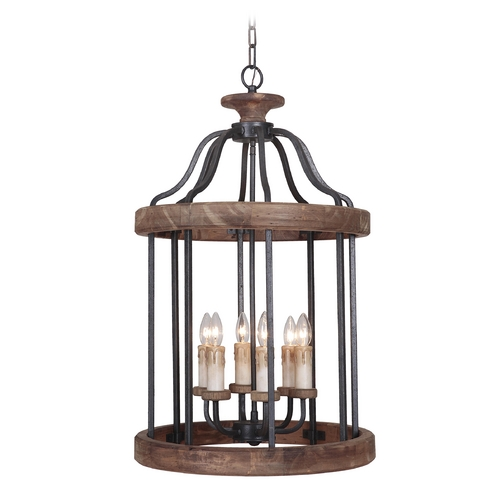 Jeremiah Lighting Jeremiah Lighting Ashwood Textured Black / Whiskey Barrel Pendant Light 36536-TBWB