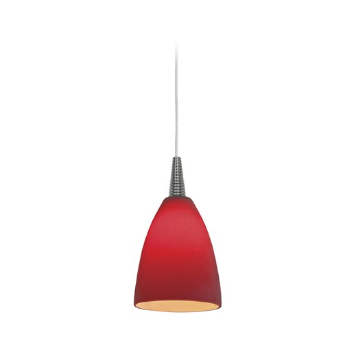 Access Lighting Access Lighting Tungsten Brushed Steel LED Mini-Pendant Light with Bowl / Dome Shade 72119LED-BS/RED