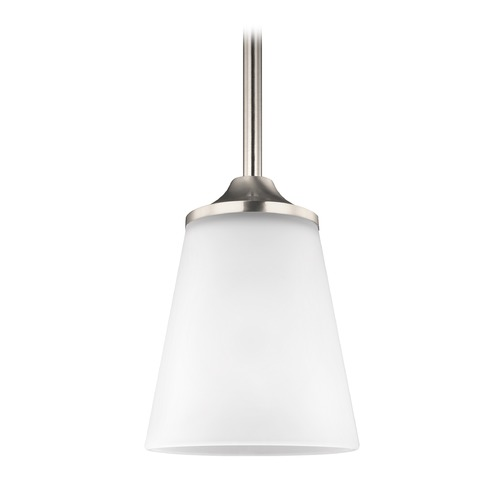 Sea Gull Lighting Sea Gull Hanford Brushed Nickel Mini-Pendant Light with Empire Shade 6124501-962