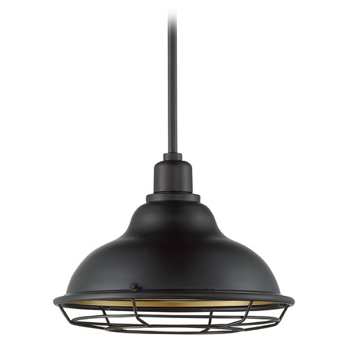 Satco Lighting Satco Lighting Newbridge Dark Bronze / Gold Barn Light with Warehouse Shade 60/7014
