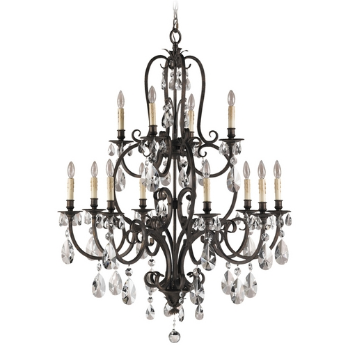 Feiss Lighting Crystal Chandelier in Aged Tortoise Shell Finish F2229/8+4ATS