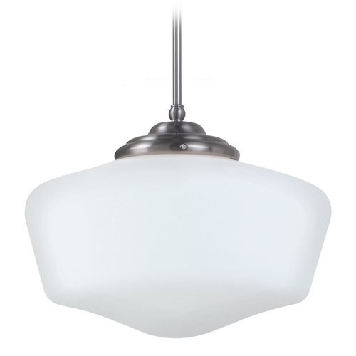 Sea Gull Lighting Schoolhouse Pendant Light with White Glass in Brushed Nickel Finish 65439-962