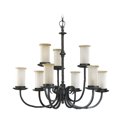Progress Lighting Progress Chandelier with Beige / Cream Glass in Forged Black Finish P4179-80